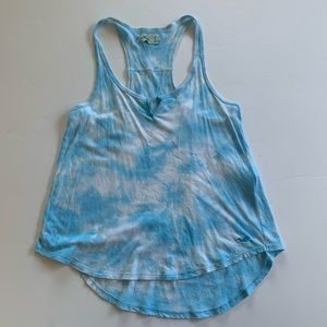 Hollister Sky Blue and White Tie Dye Tank Top S
